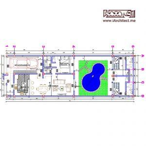 نقشه ویلا استخردار عرض 6.85 متر