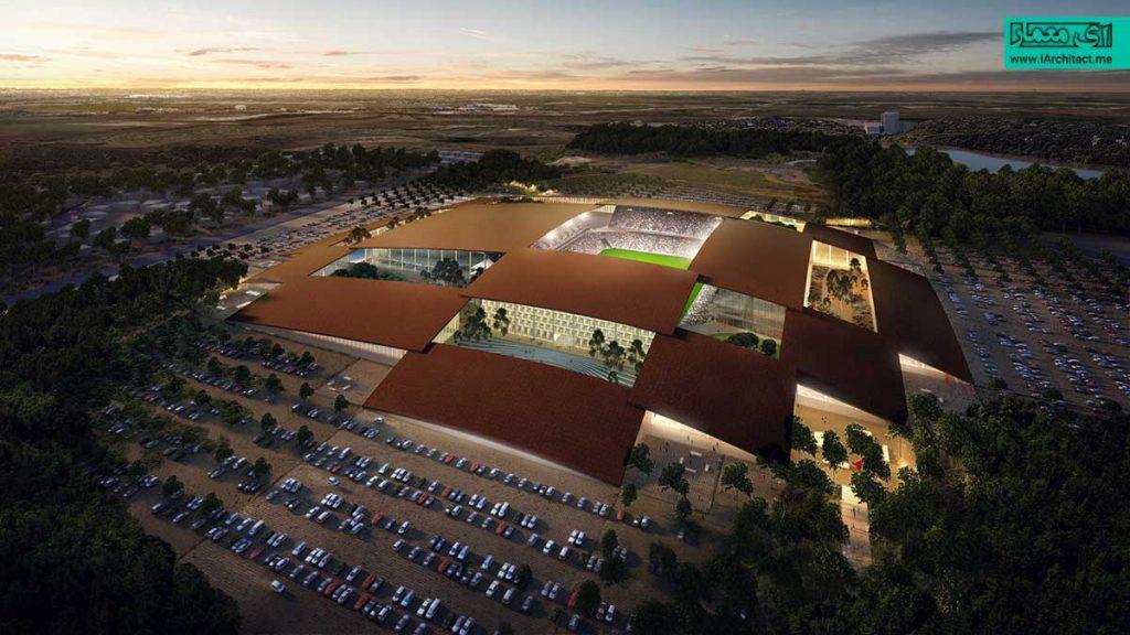 طراحی ورزشگاه چند منظوره تگزاس از گروه معماری BIG