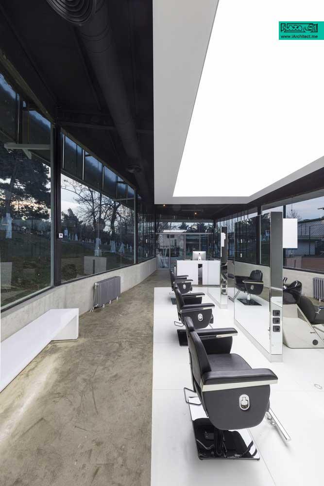 طراحی داخلی آرایشگاه مردانه لوکس در مجموعه ورزشی انقلاب