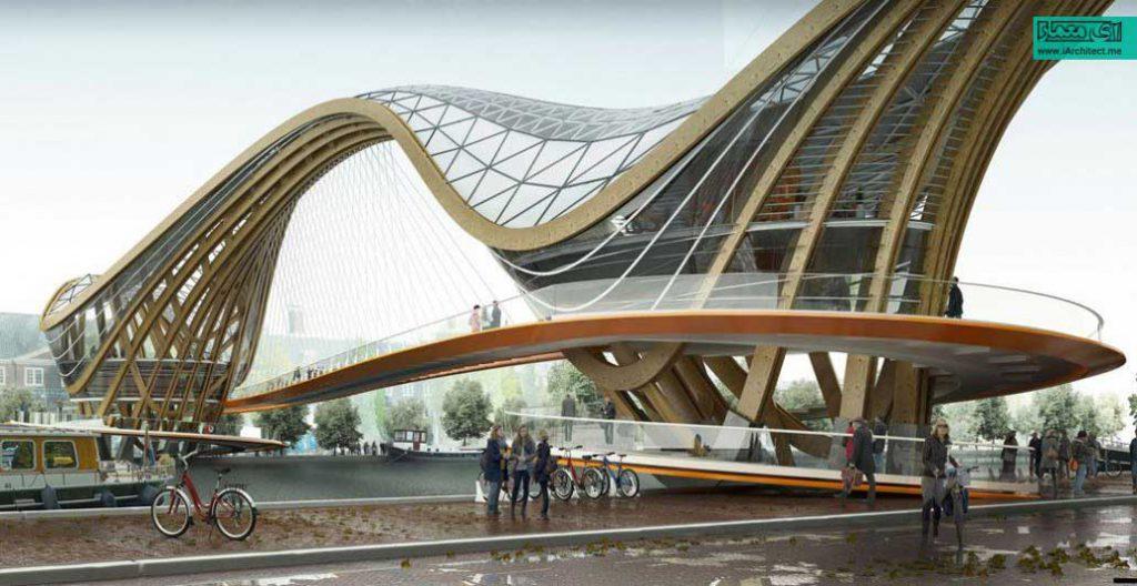 پل عابر پیاده ، کافی شاپ و ایستگاه دوچرخه