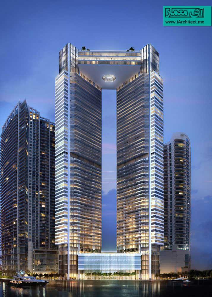 طراحی برج مسکونی لوکس میامی با پنت هاوس معلق