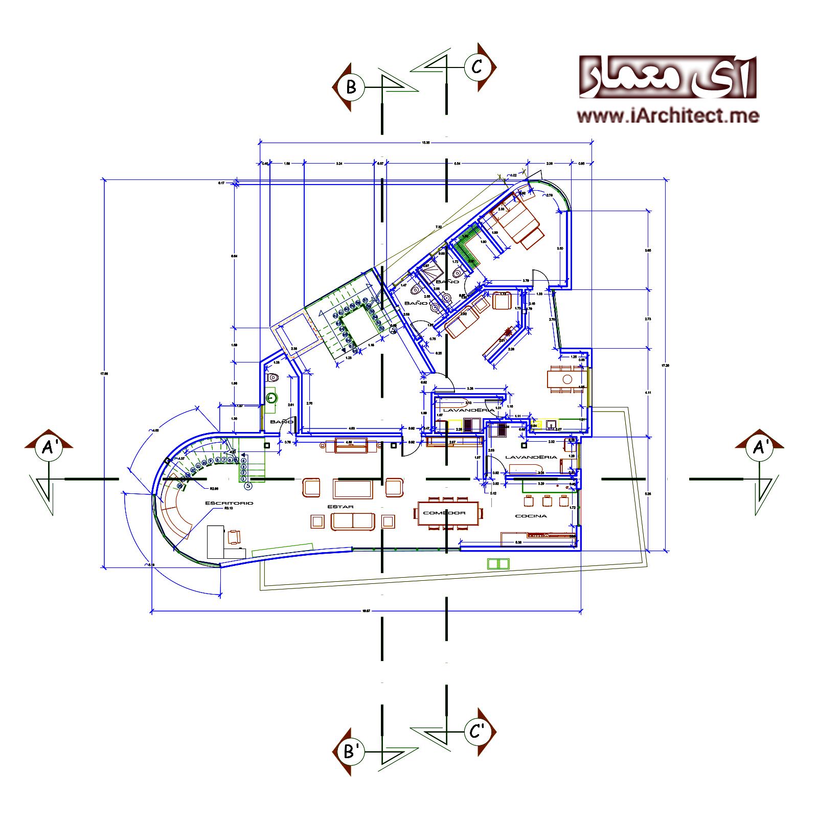 نقشه آپارتمان تجاری -مسکونی