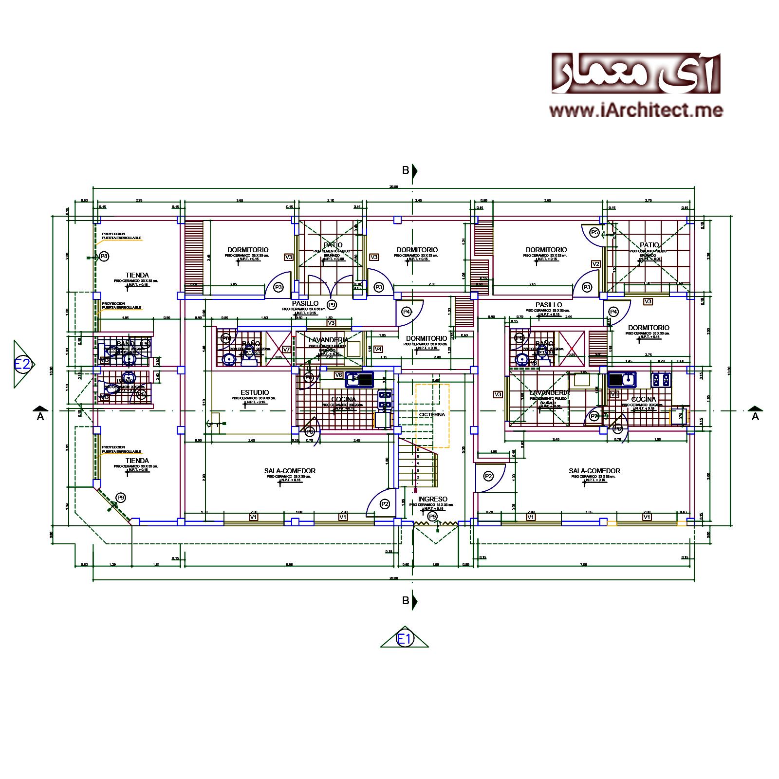 نقشه آپارتمان تجاری-مسکونی