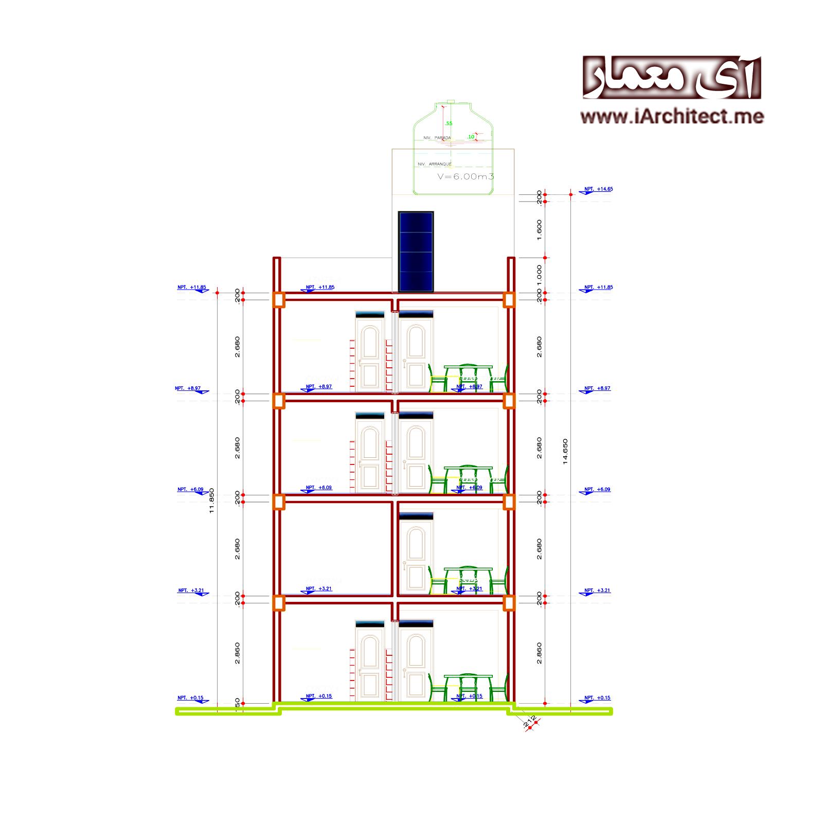 نقشه آپارتمان اداری-مسکونی