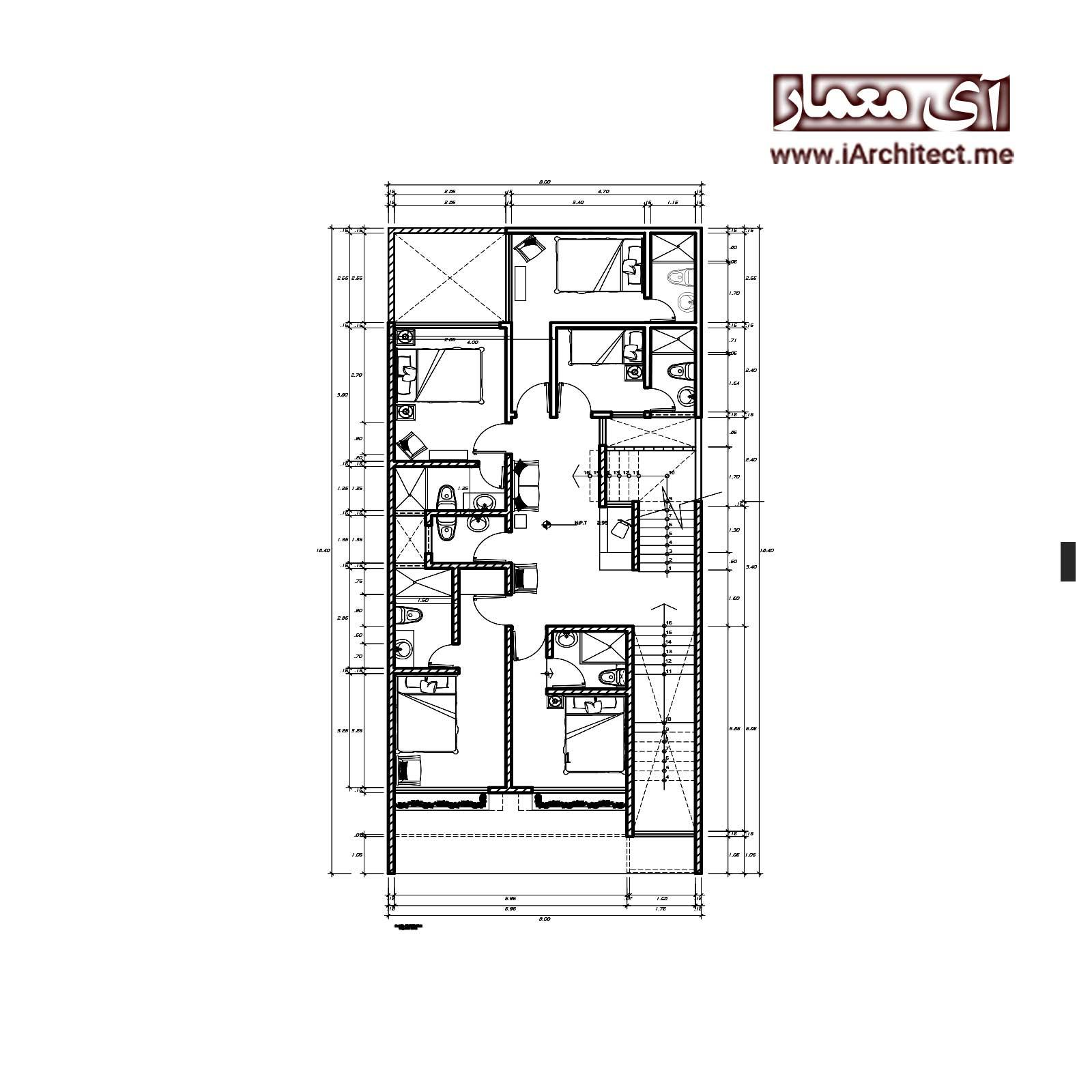 نقشه متل(استراحتگاه) به عرض 8