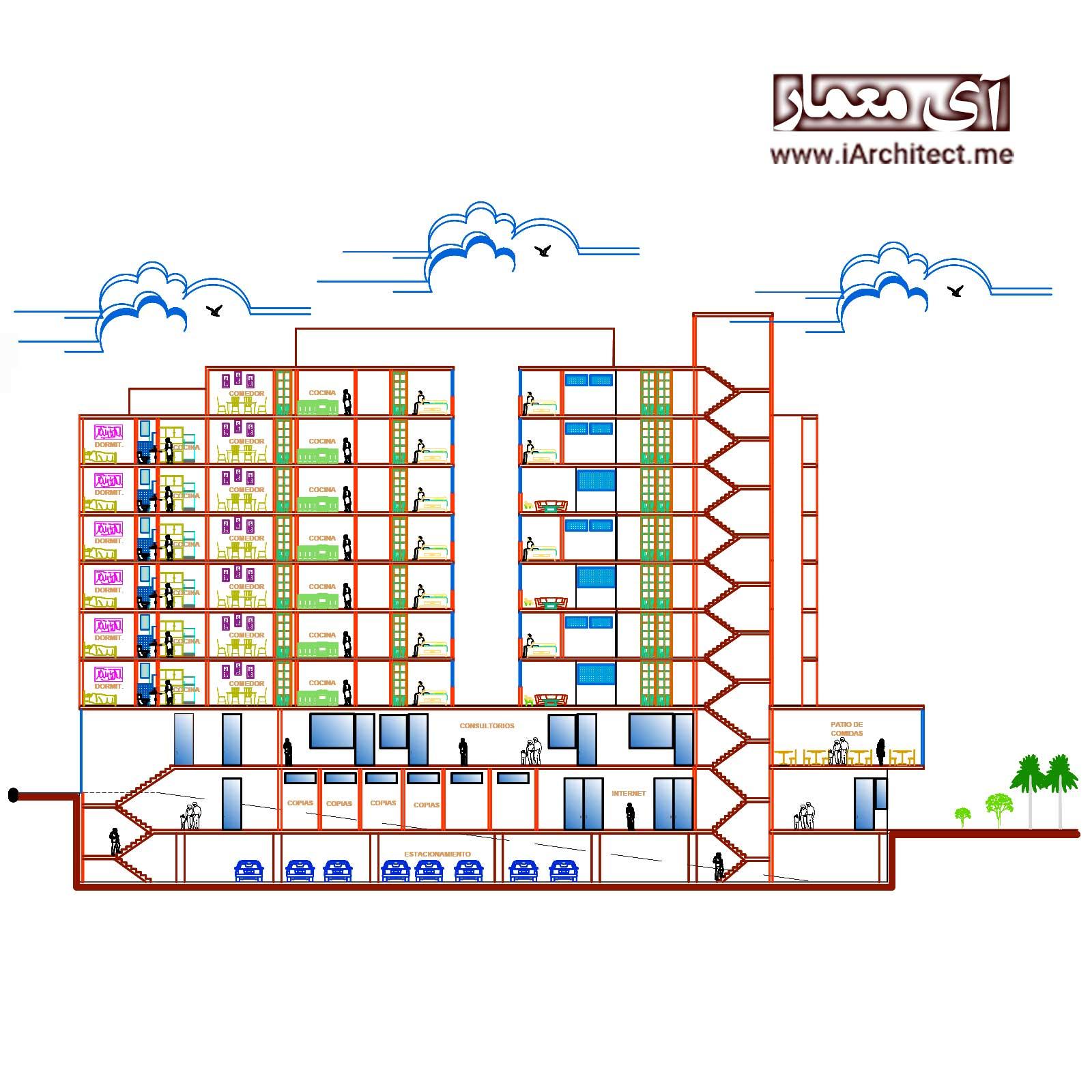 نقشه آپارتمان تجاری- مسکونی