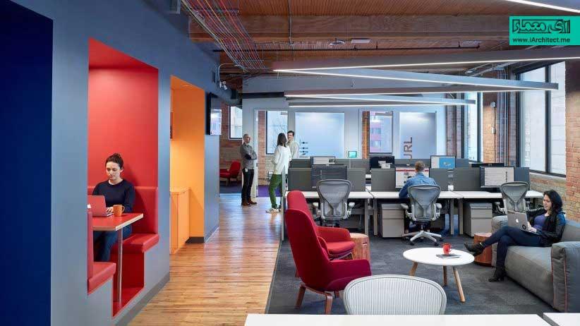 دفتر کار Slack در تورنتو با غرفهها