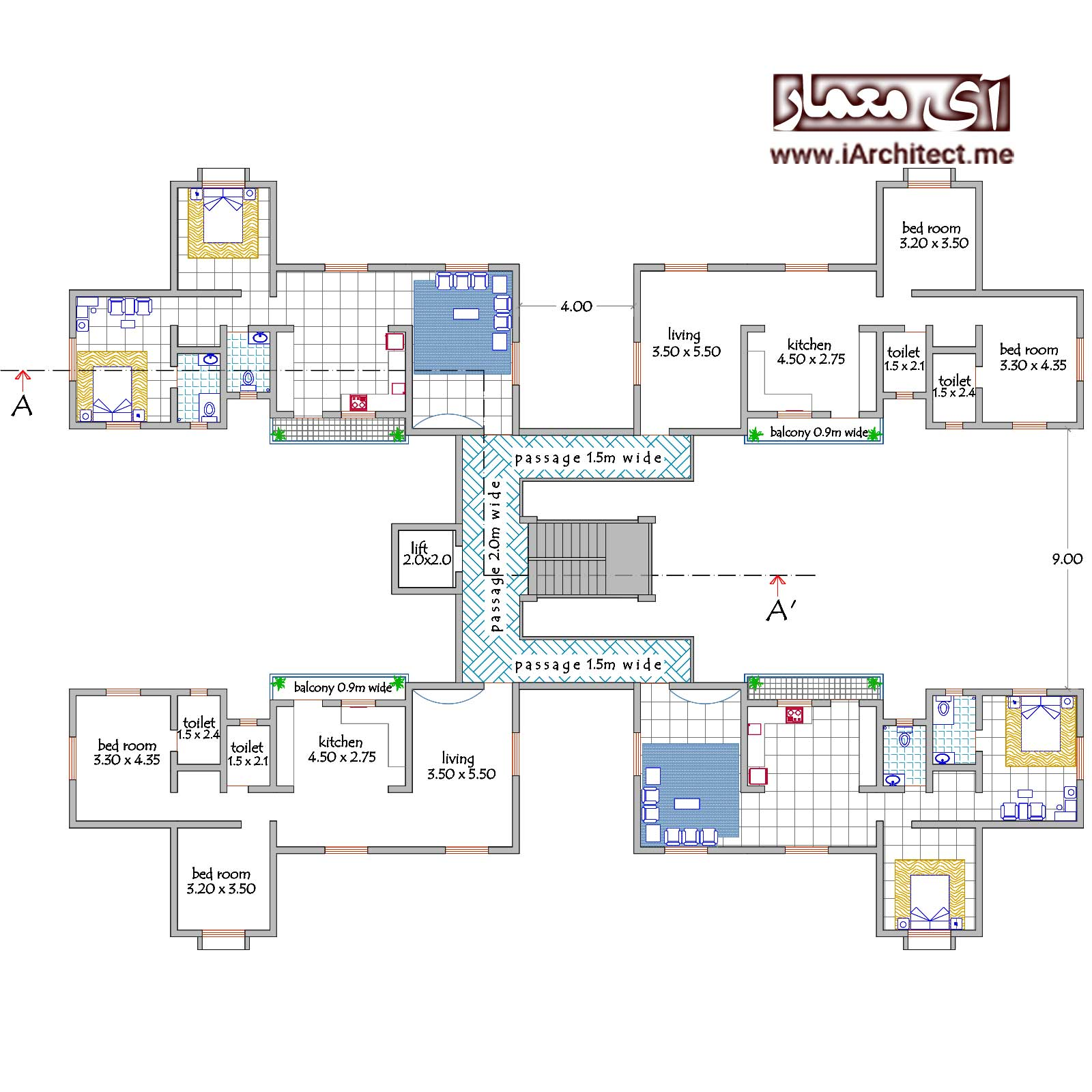 پلان آپارتمان مسکونی 8 طبقه