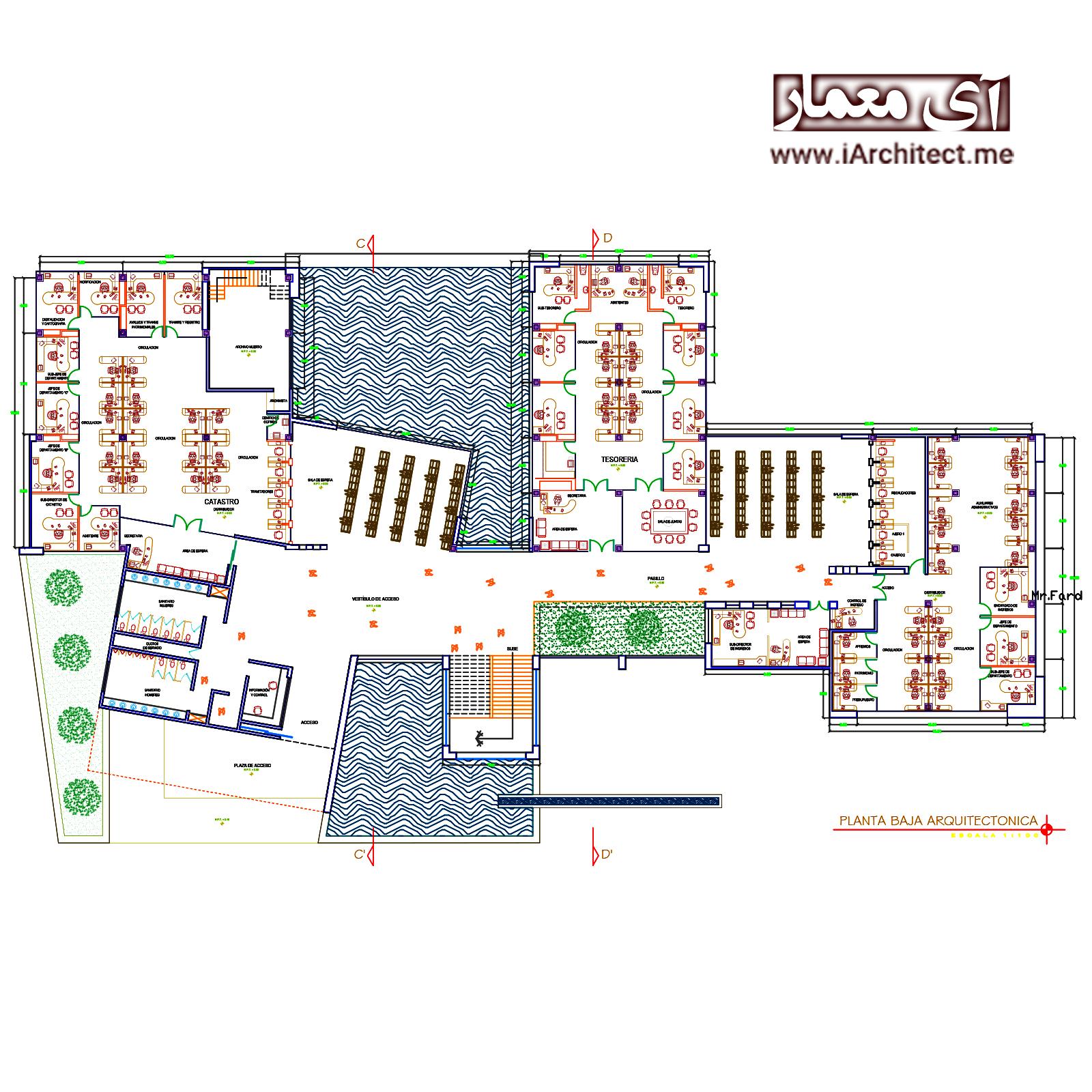 نقشه ساختمان اداری 2 طبقه