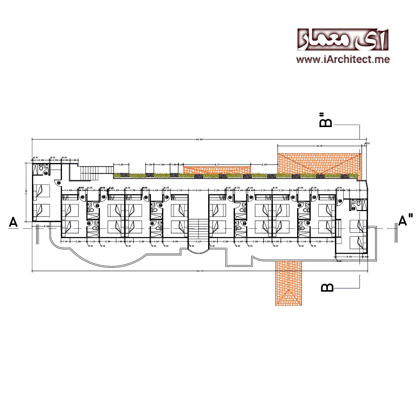 نقشه معماری کامل هتل 4 طبقه