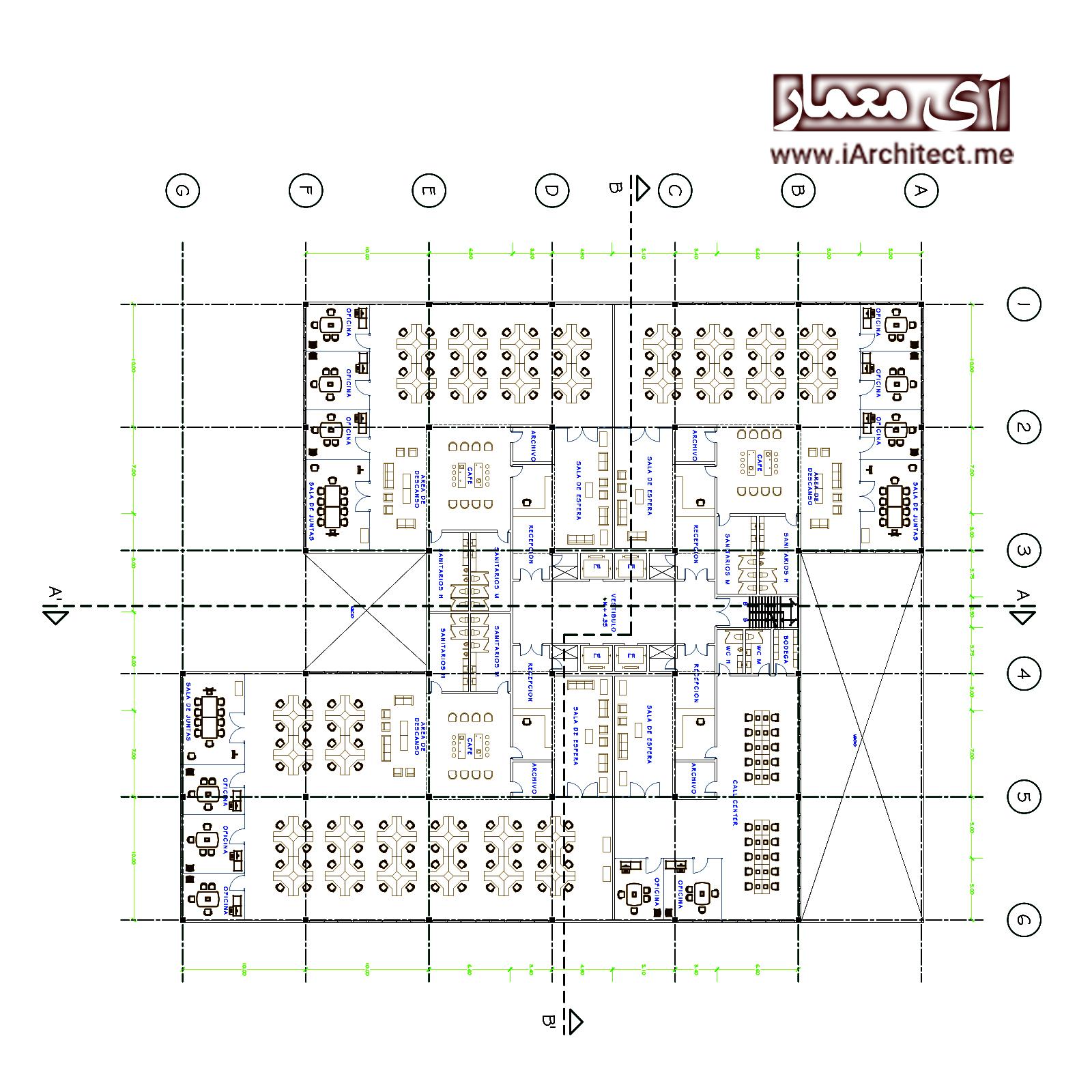 نقشه ساختمان اداری 18 طبقه