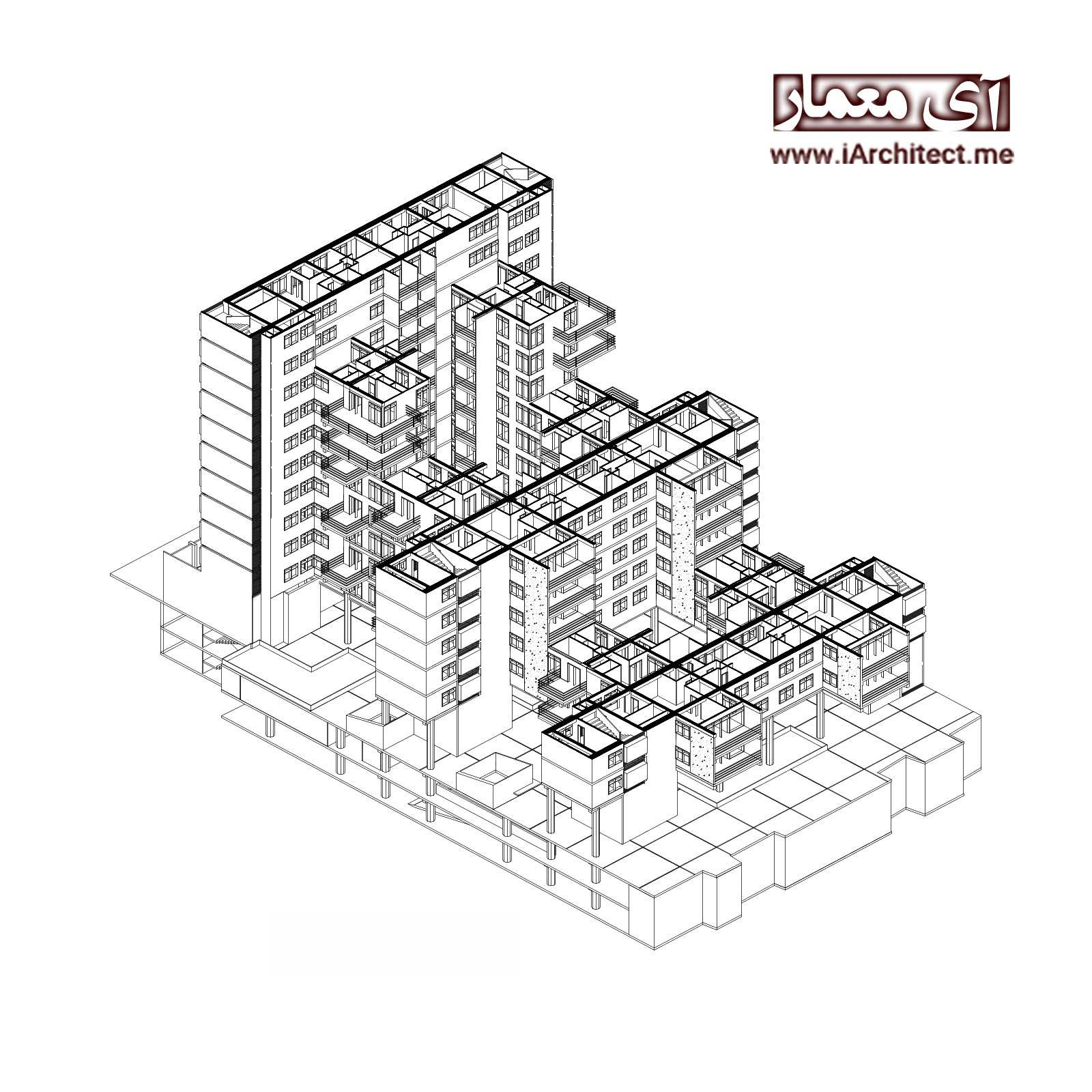 پلان مجتمع مسکونی 12 واحدی 13 طبقه لاکچری