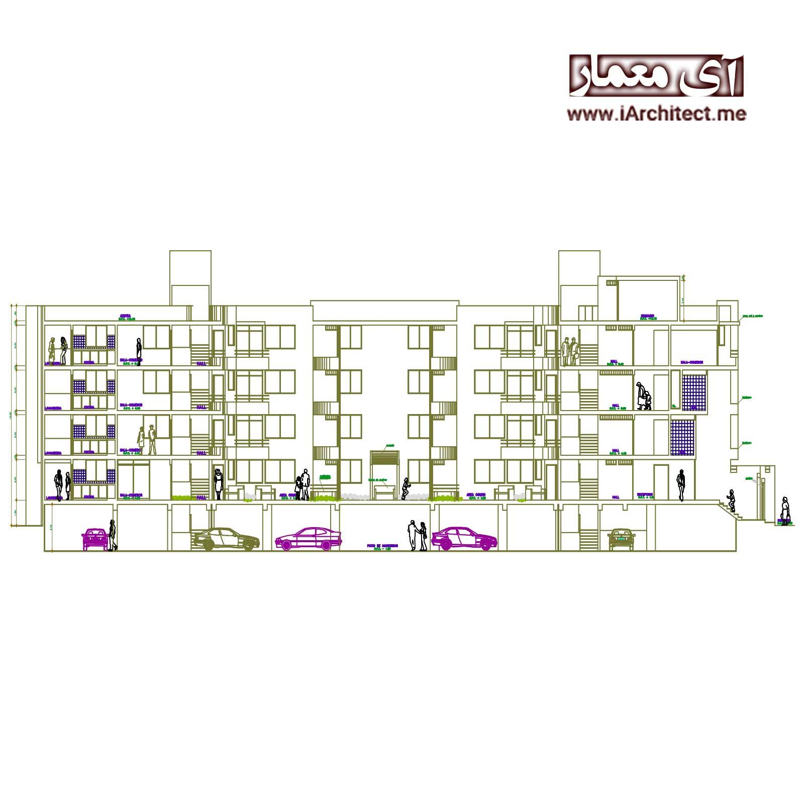 نقشه آپارتمان مسکونی 5 طبقه لوکس