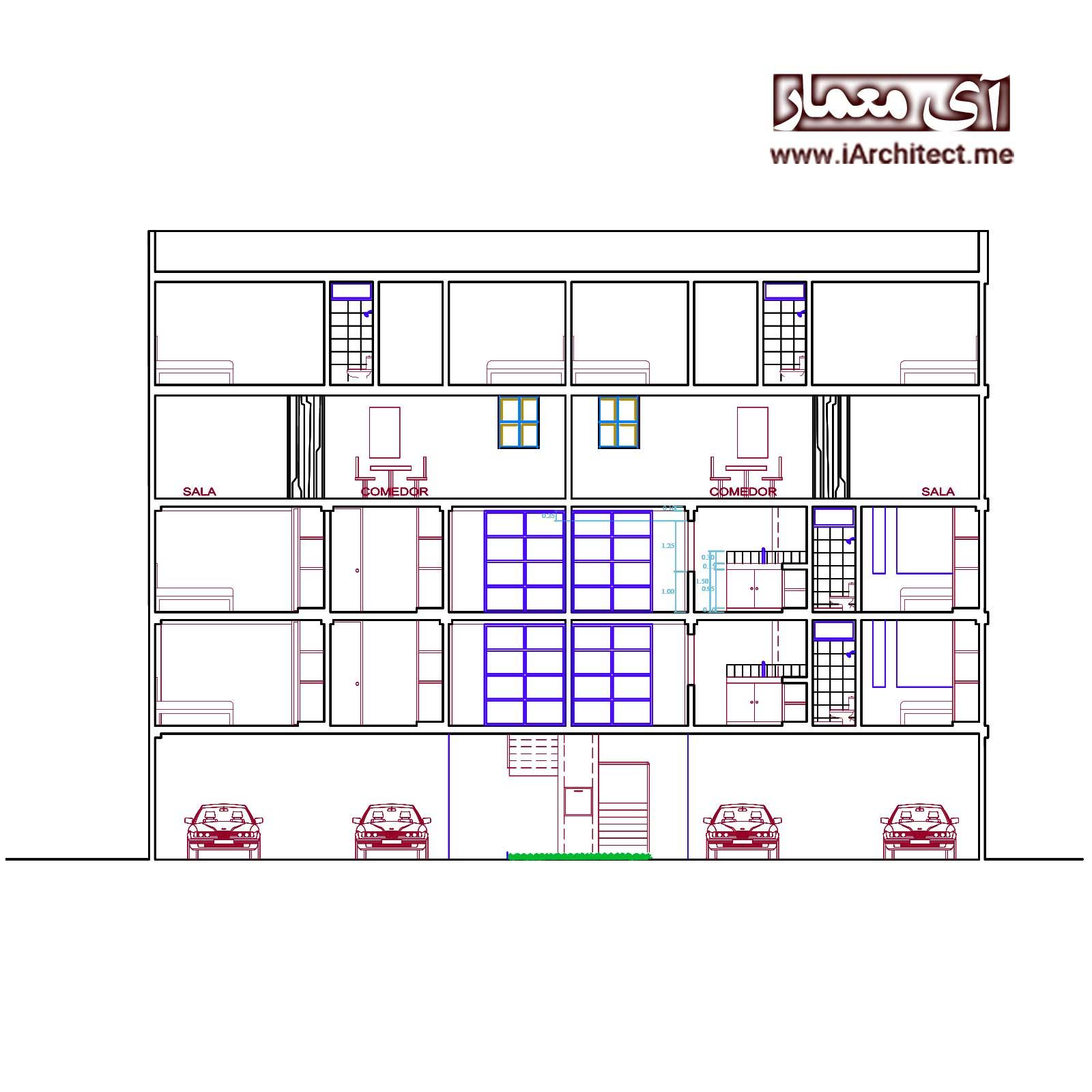 نقشه مجتمع مسکونی 4 طبقه لوکس
