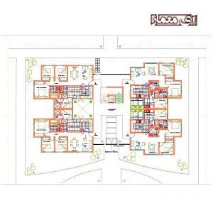 پلان آپارتمان مسکونی 14 واحدی