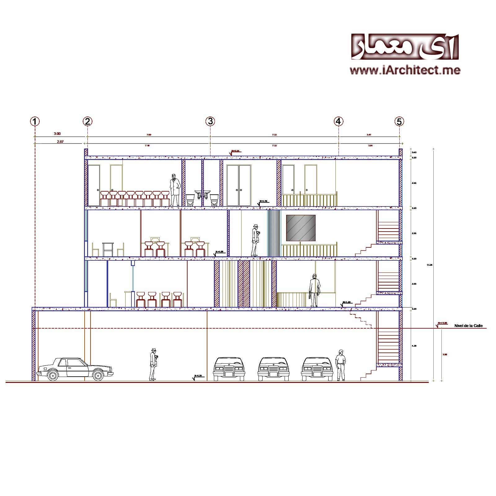 پلان ساختمان اداری-تجاری