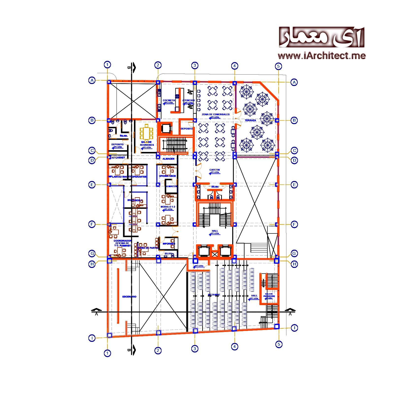 نقشه ساختمان اداری 10 طبقه