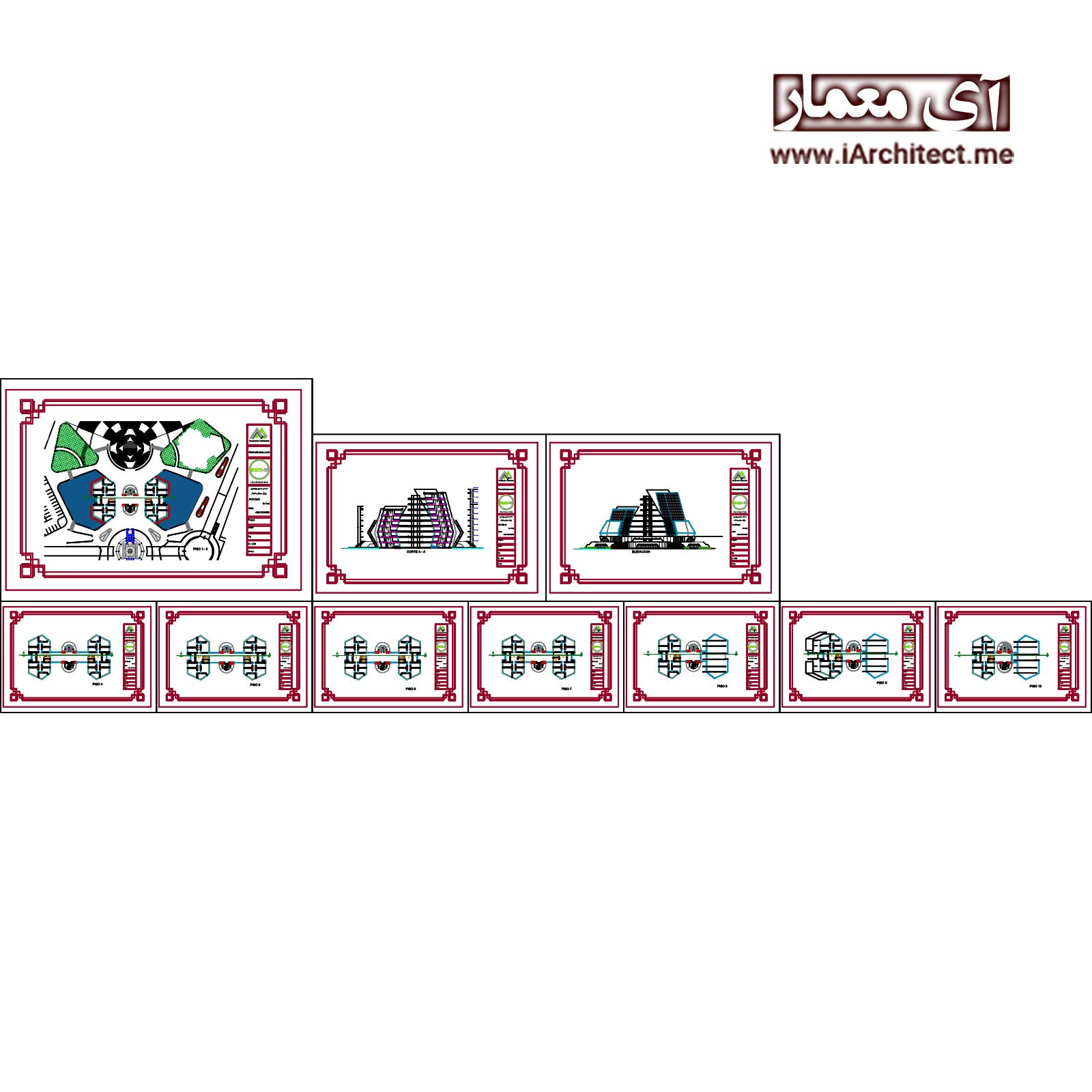 نقشه ساختمان 10 طبقه اداری