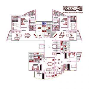 دانلود نقشه معماری مجتمع مسکونی