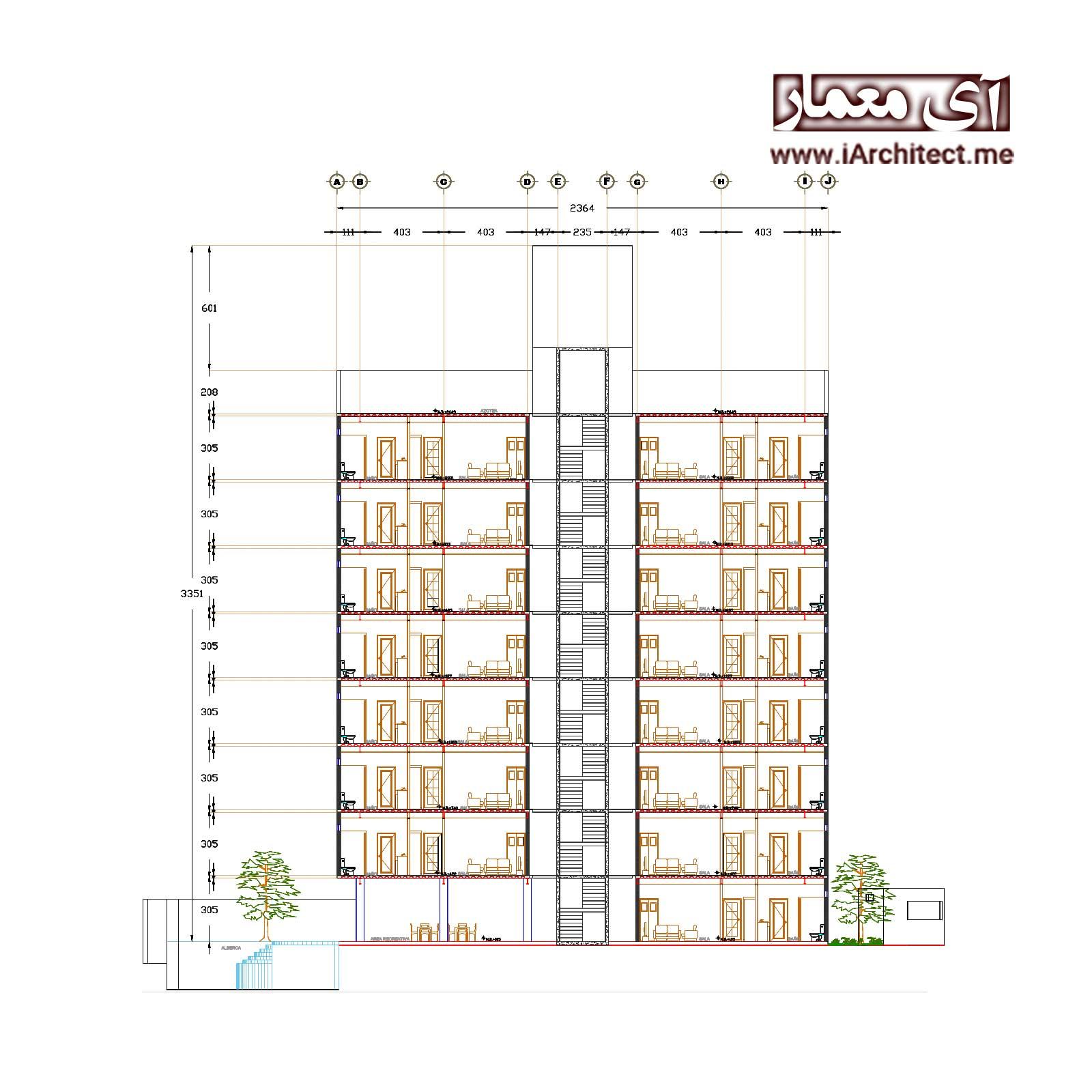نقشه اتوکدی آپارتمان مسکونی