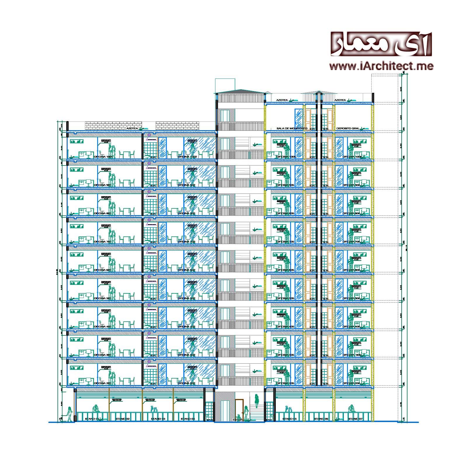 نقشه ساختمان تجاری-اداری