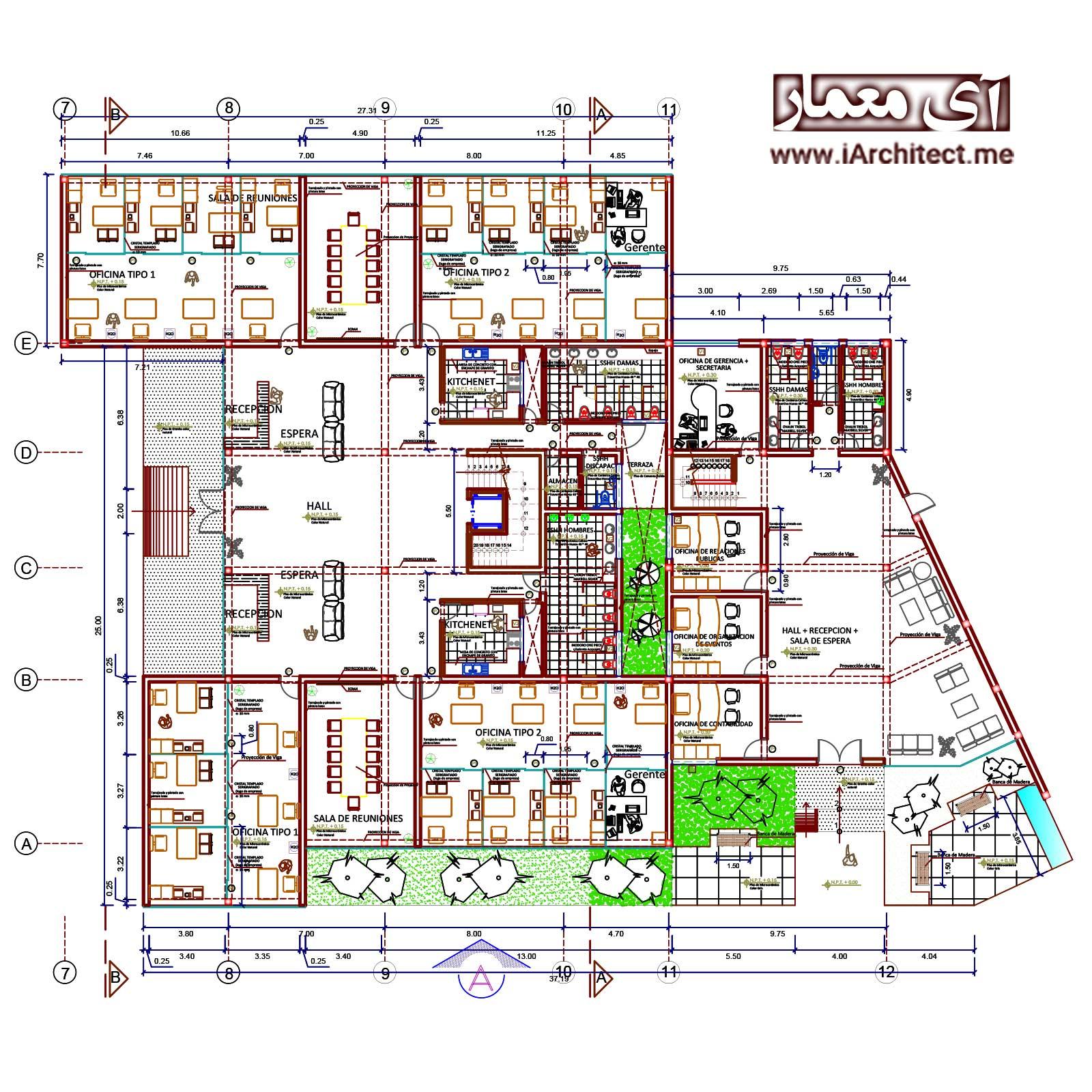 نقشه معماری مرکز تجاری-اداری