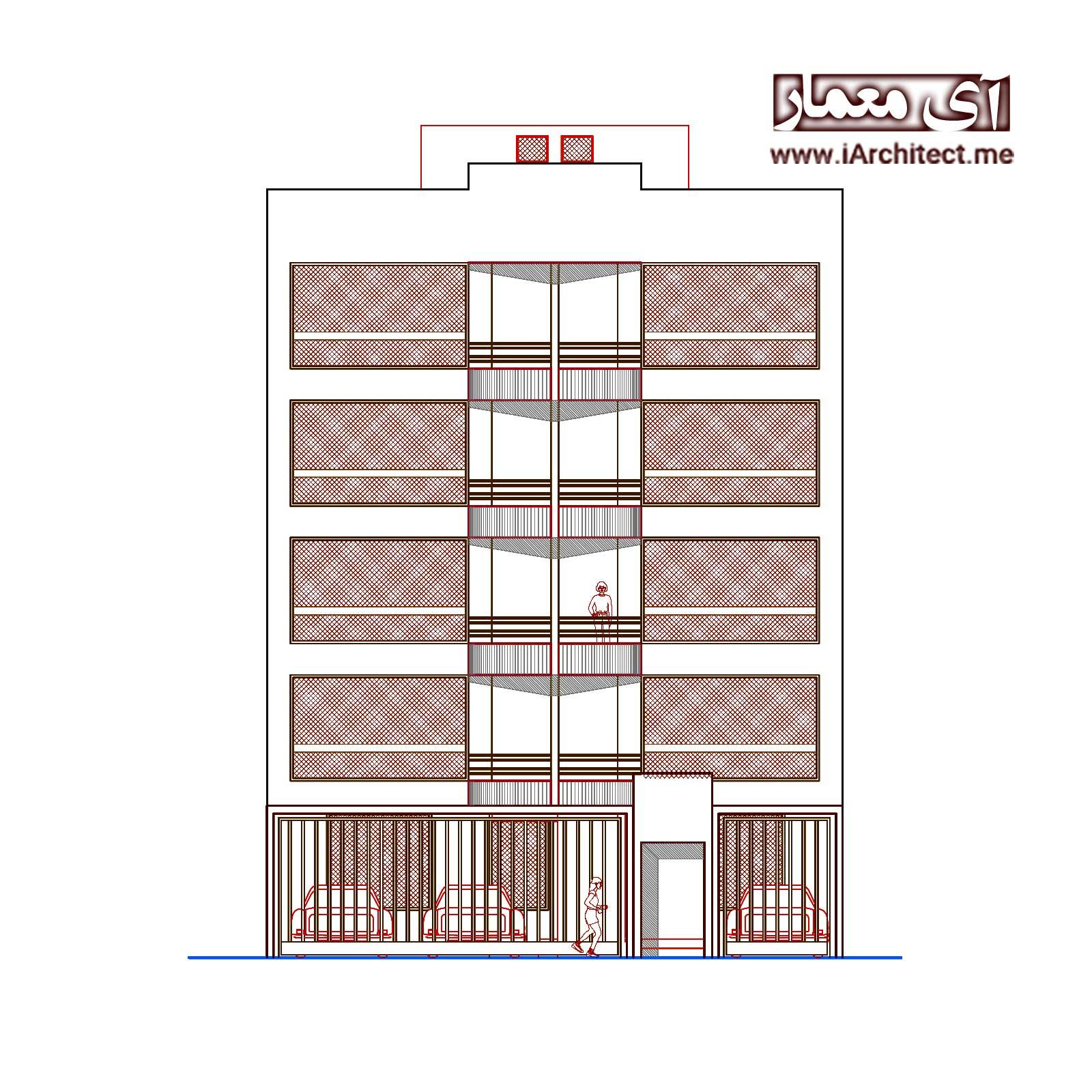 دانلود پلان آپارتمان مسکونی 5 طبقه