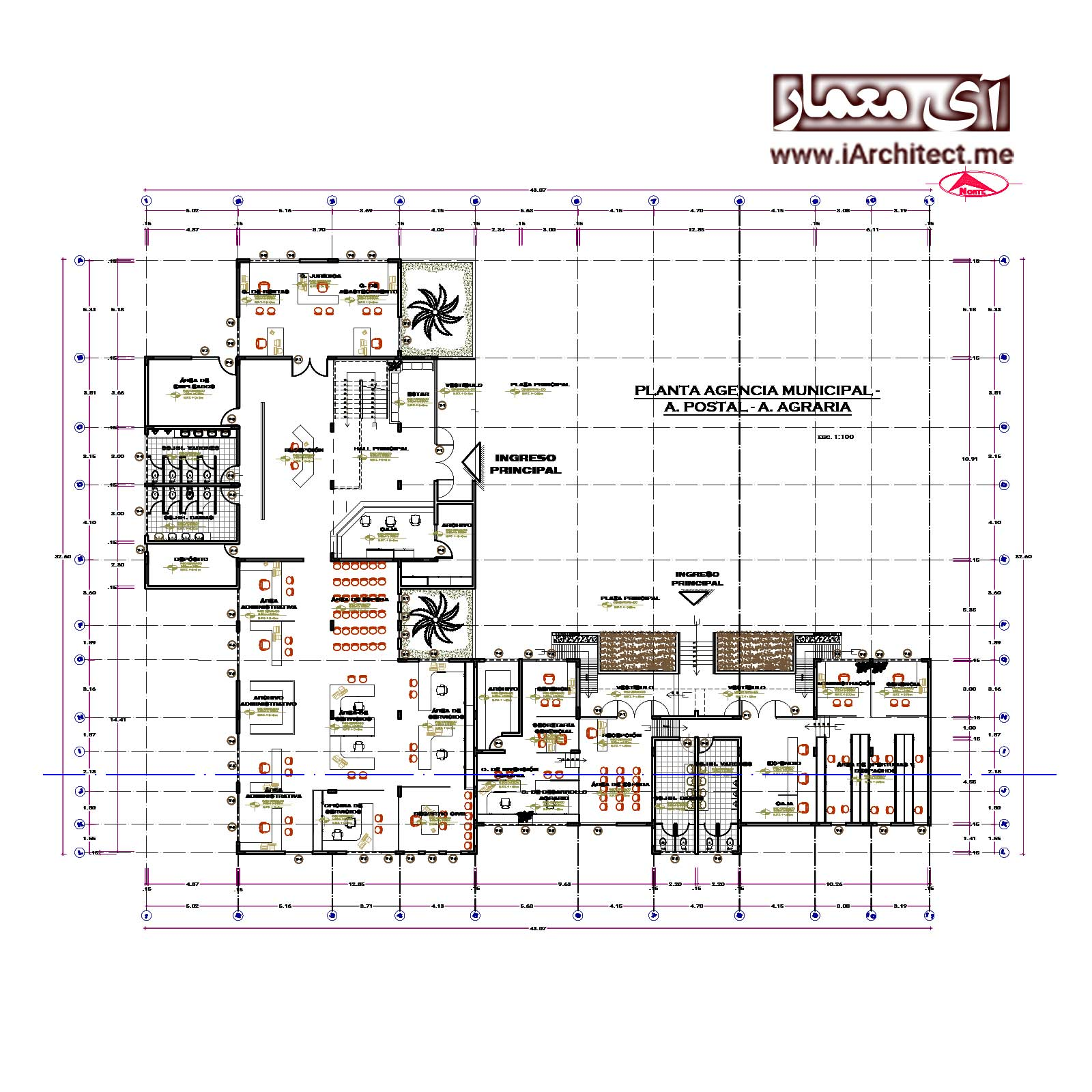 دانلود نقشه اتوکدی ساختمان اداری
