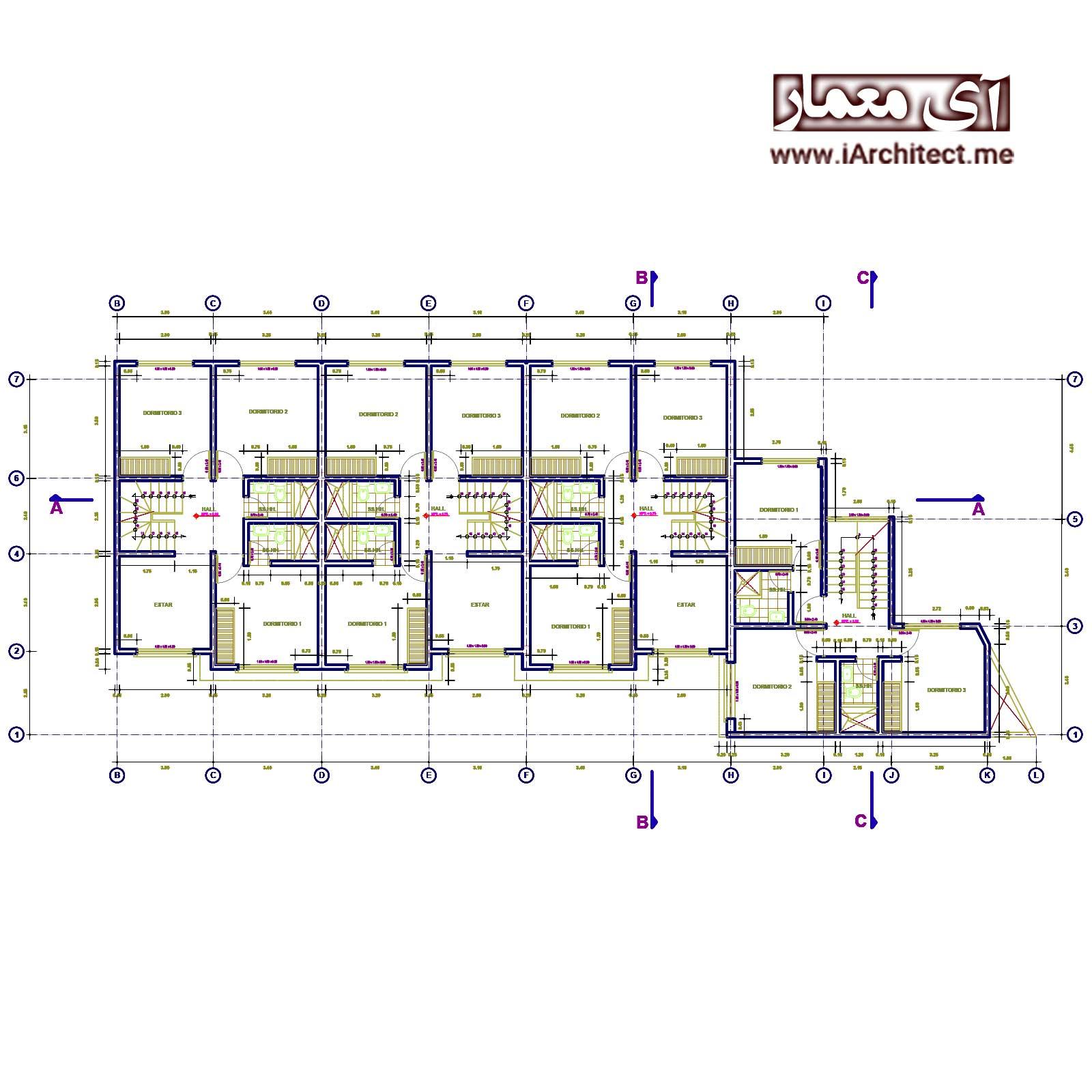 دانلود نقشه معماری هتل