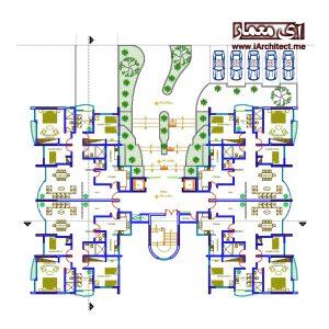 نقشه آپارتمان مسکونی 13 طبقه