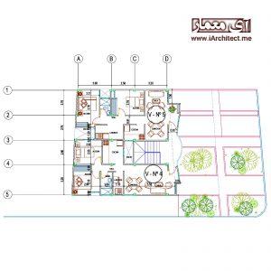 نقشه آپارتمان مسکونی 3 طبقه