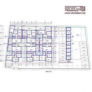 نقشه آپارتمان مسکونی 4 طبقه