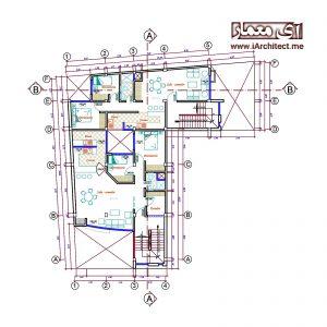 نقشه آپارتمان مسکونی 8 واحدی