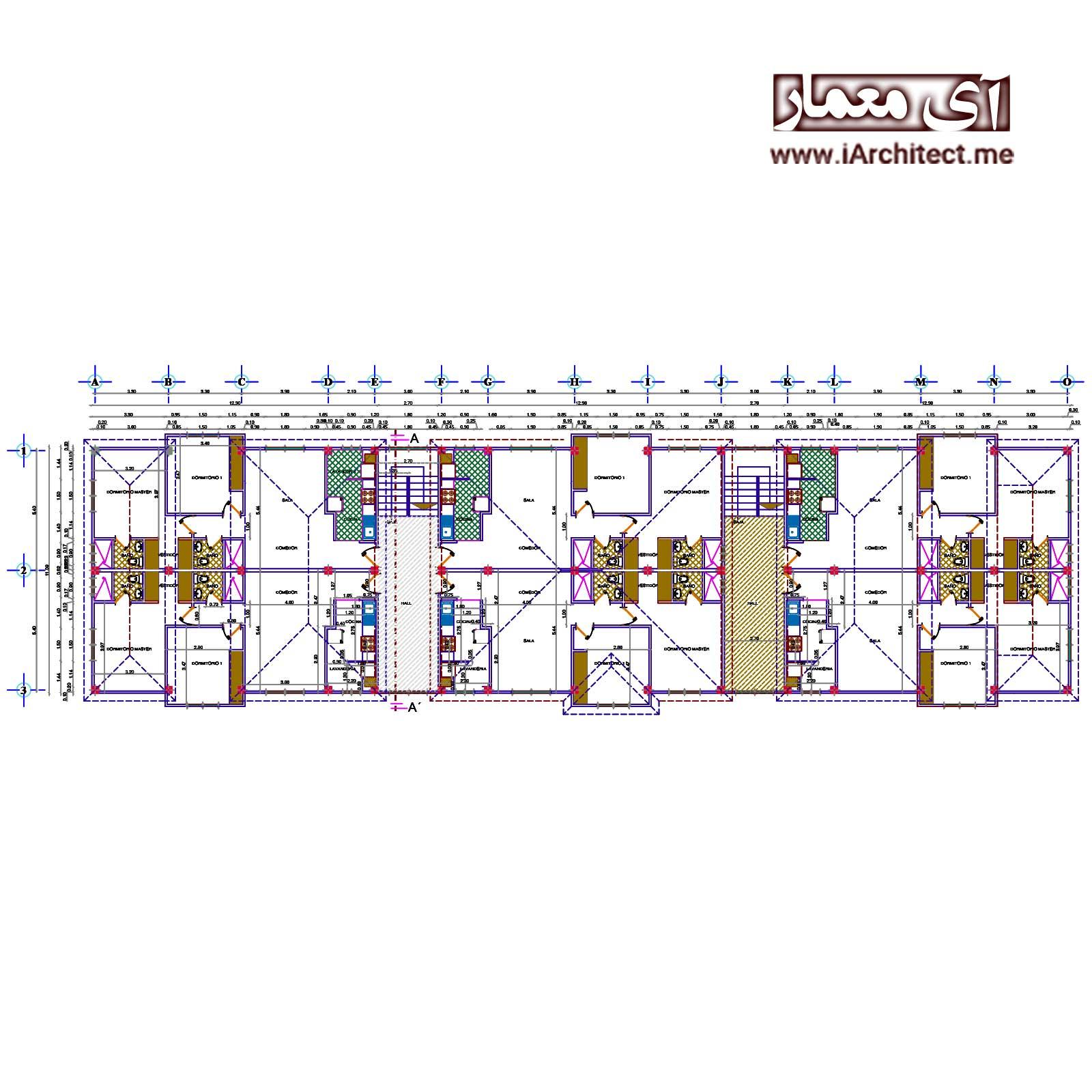 نقشه آپارتمان مسکونی عرض 11