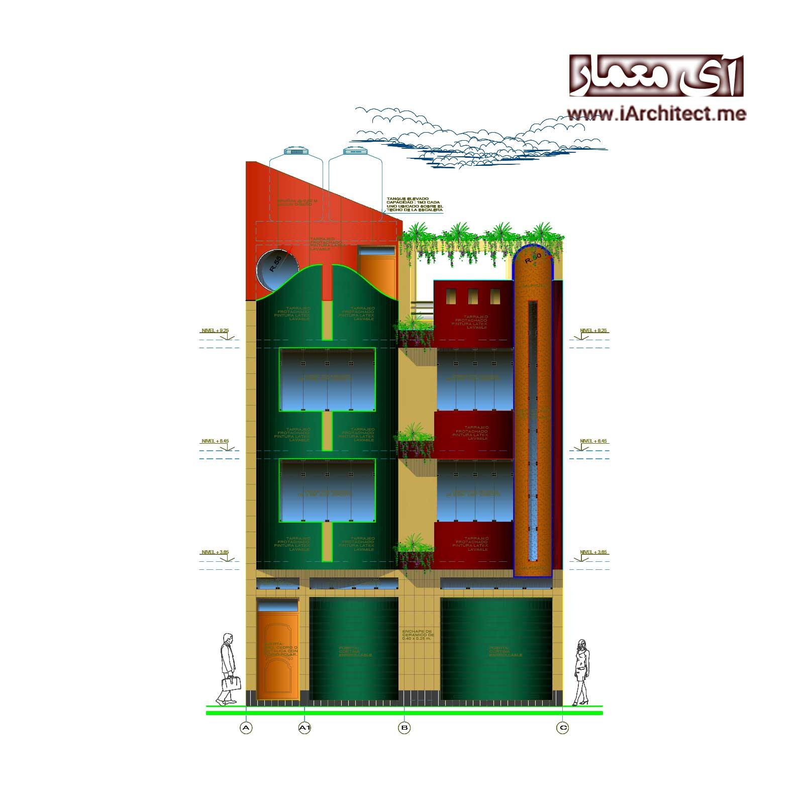 نقشه آپارتمان مسکونی-تجاری