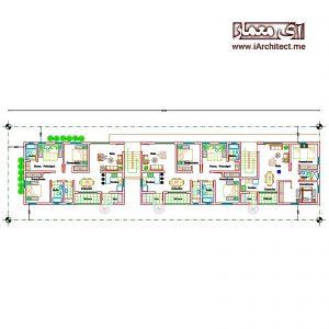 نقشه بلوک مسکونی دو طبقه