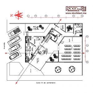 دانلود نقشه خانه فرهنگ 2 طبقه
