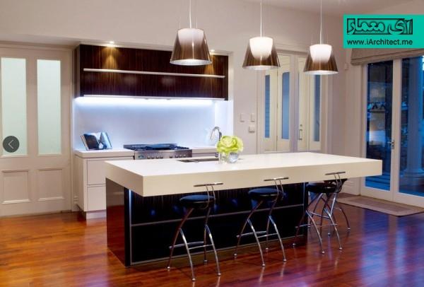 آشپزخانه با نورپردازی مدرن