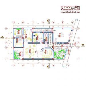 نقشه مسکونی عرض 8 متر