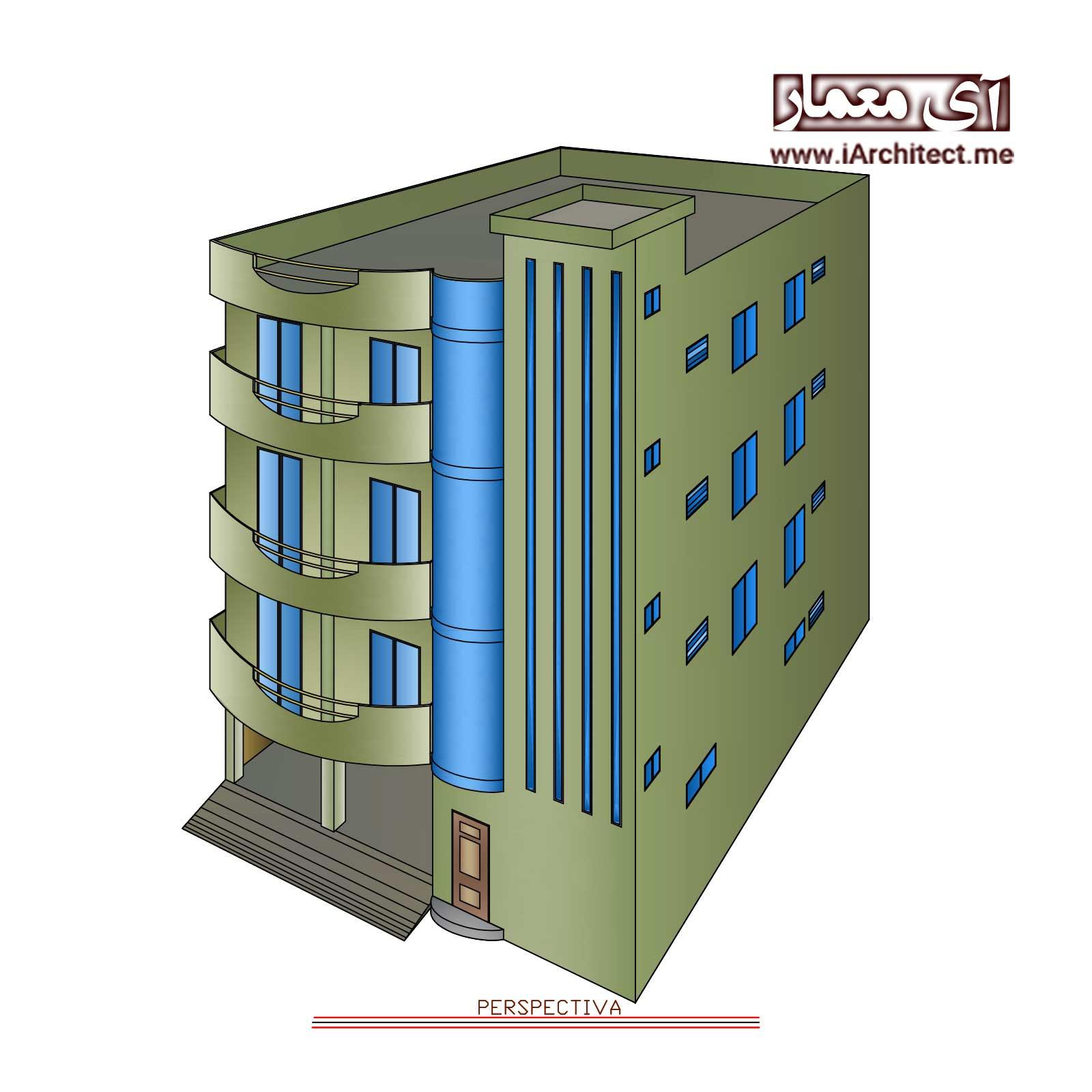 پلان آپارتمان تجاری مسکونی 4 طبقه