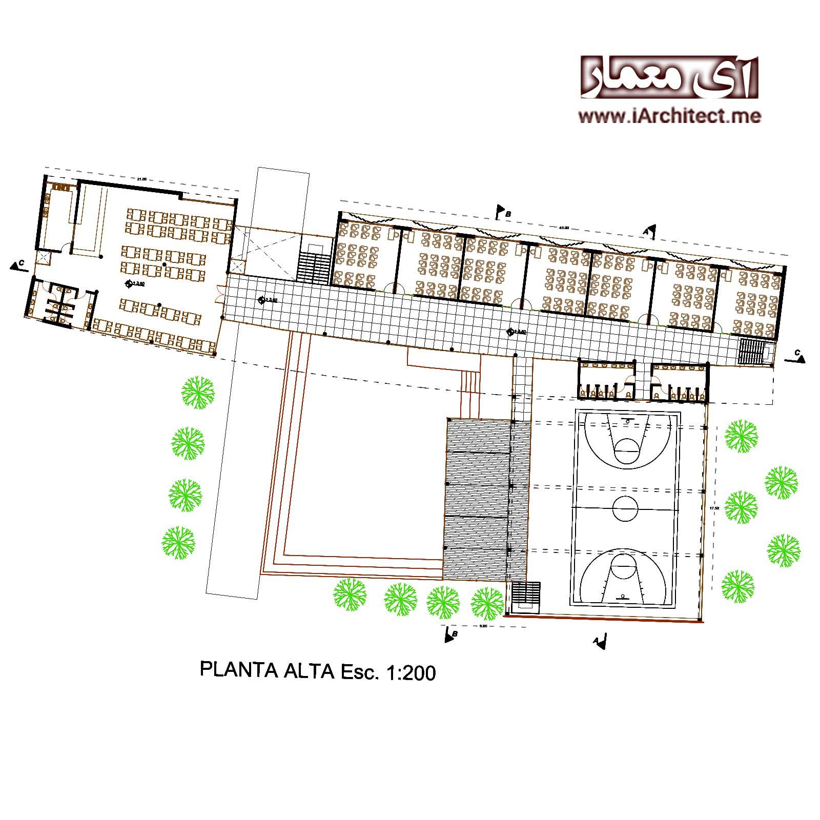 نقشه اتوکدی مدرسه 2 طبقه