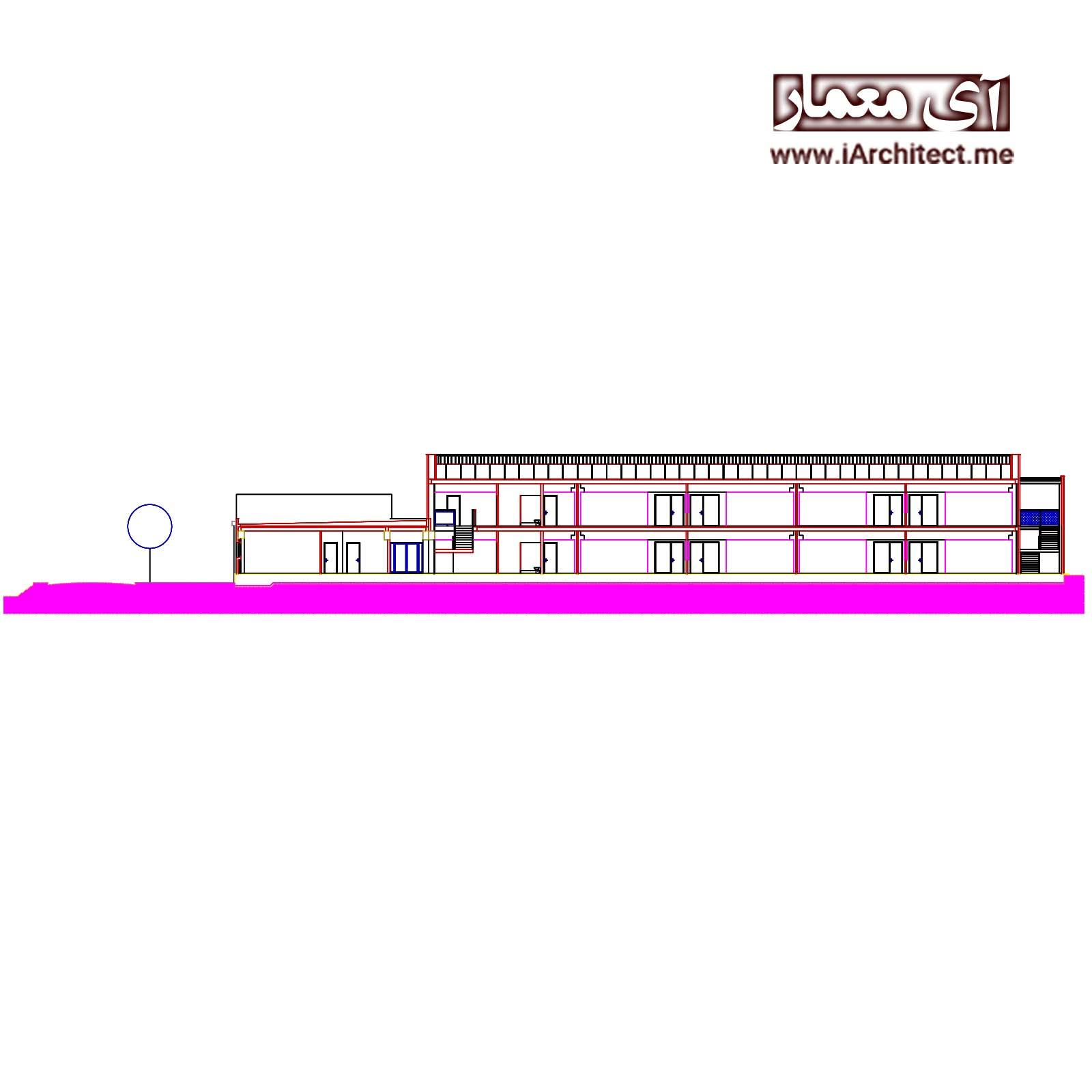 پلان معماری مدرسه 2 طبقه