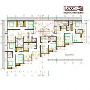 نقشه اپارتمان مسکونی 7 طبقه