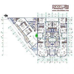 نقشه معماری آپارتمان مسکونی 4 طبقه