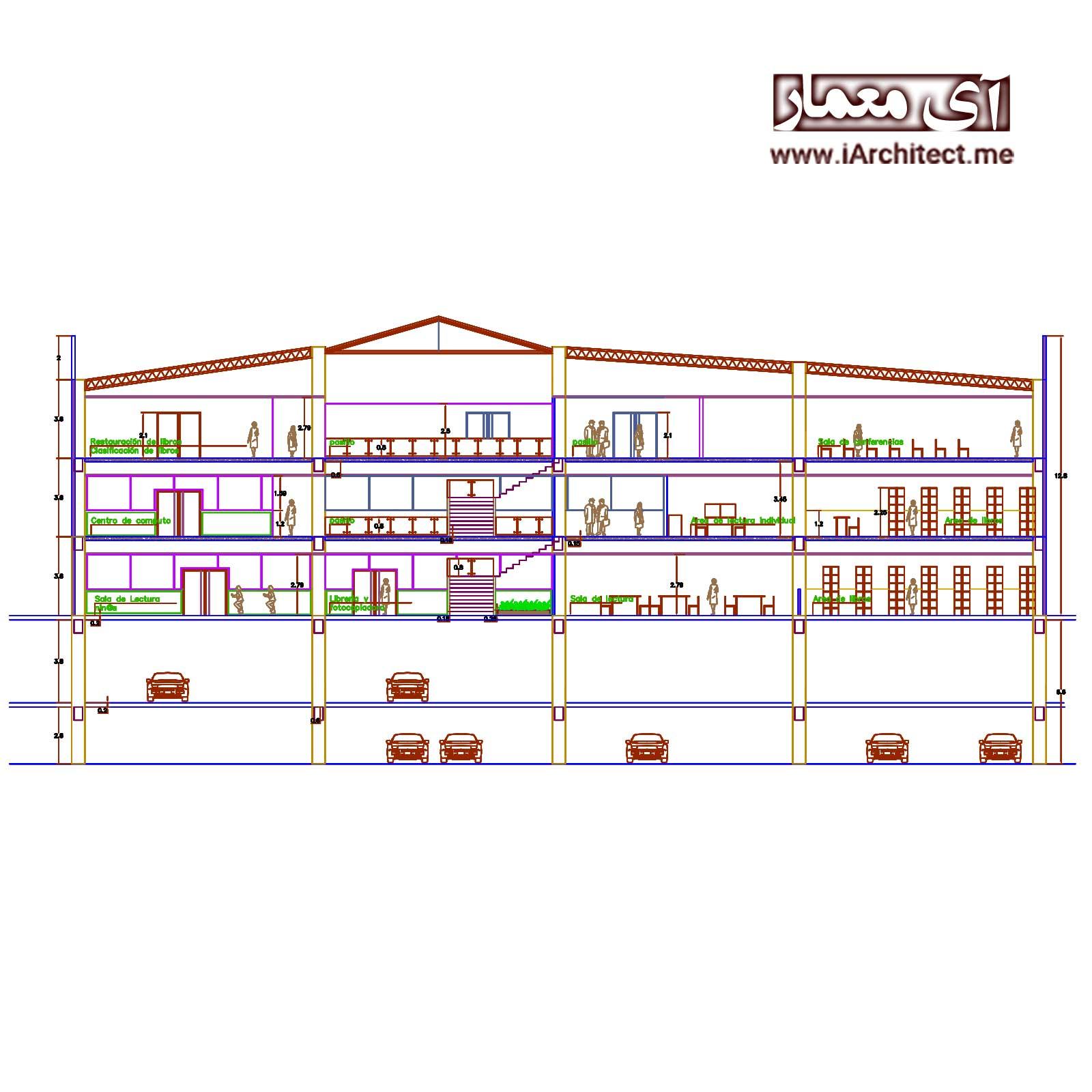 دانلود پلان معماری کتابخانه 5 طبقه