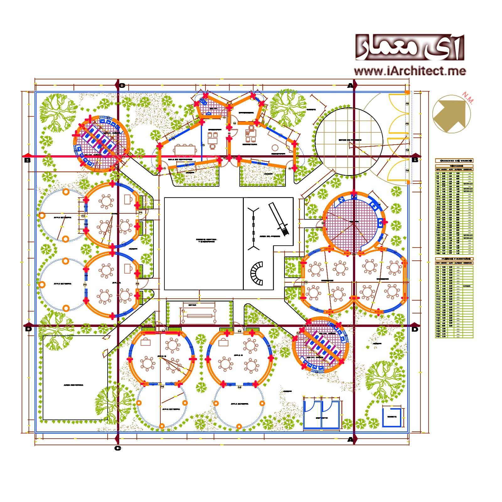 دانلود پلان معماری دبستان