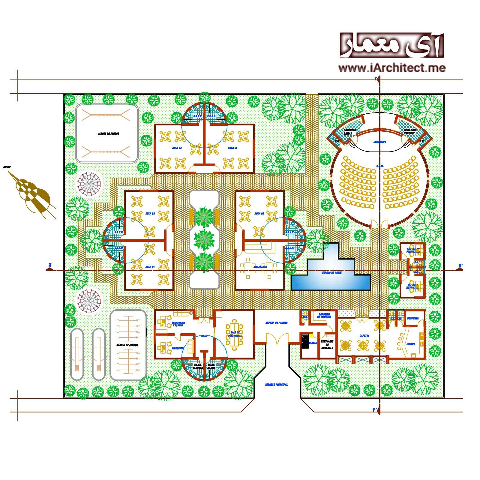 دانلود نقشه معماری مدرسه