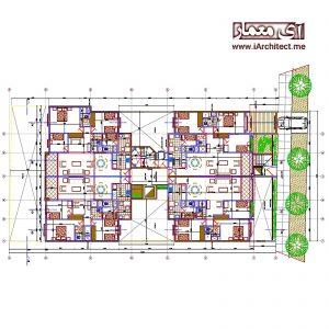 نقشه آپارتمان مسکونی 10طبقه