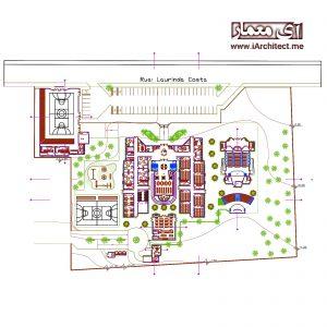 نقشه اتوکدی موسسه آموزشی