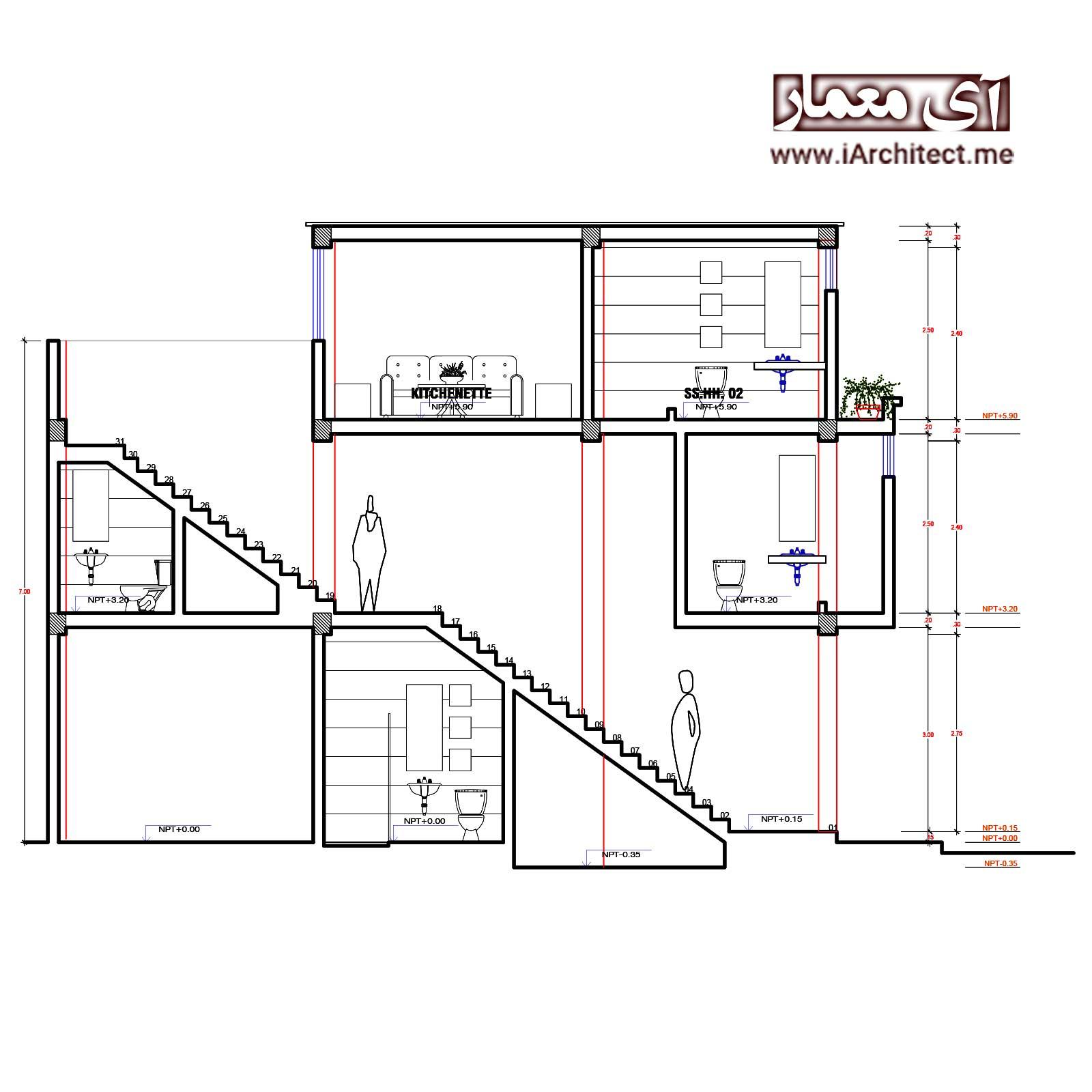 طراحی نقشه مسکونی سه طبقه مدرن